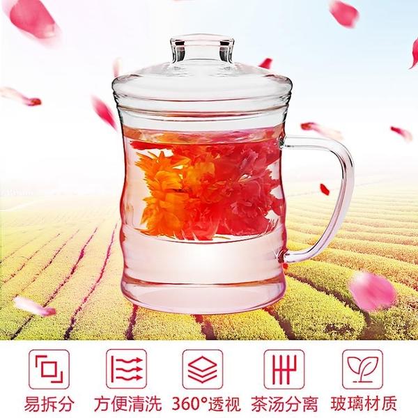 創意玻璃水保溫杯便攜茶水分離泡茶杯男女士家用帶蓋檸檬花茶杯【八折搶購】