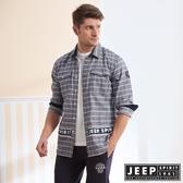 【JEEP】型男LOGO織帶造型長袖襯衫 (格紋藍)