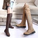 膝上靴 夏季新款馬丁靴女英倫風過膝靴女長...