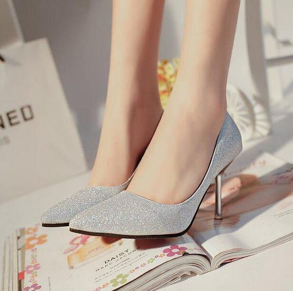 新款銀色亮片尖頭高跟鞋KM2238『伊人雅舍』