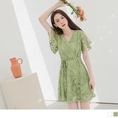 《DA7875-》韓系女神蕾絲雕花荷葉袖收腰綁帶短洋裝 OB嚴選