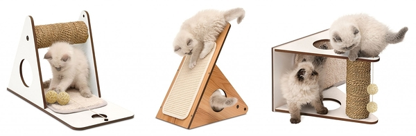 *King WANG*赫根Hagen Vesper貓用實木家具《三用途遊戲台》核桃木/白色 兩色