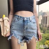 港味復古chic夏季新款高腰顯瘦熱褲洗水毛邊不規則牛仔短褲女