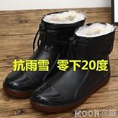 男士雨靴 季雨鞋男士短筒雨靴時尚防水鞋廚房防滑套鞋工作膠鞋 母親節特惠