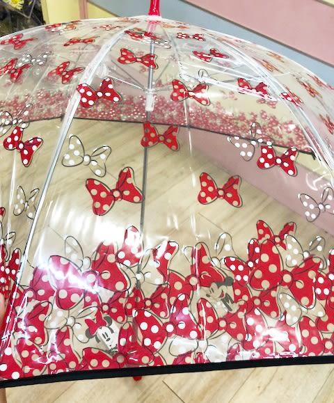 【震撼精品百貨】Micky Mouse 米奇/米妮 ~迪士尼造型透明直傘-米妮紅(60CM)