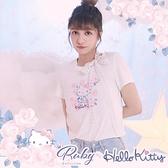 上衣 Hello Kitty x Ruby 聯名款.綁帶圖案短袖上衣-Ruby s 露比午茶