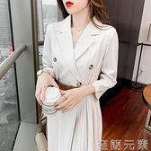 西裝洋裝 百搭高級設計感西裝裙女夏收腰氣質七分袖裙子御姐范不規則洋裝 至簡元素