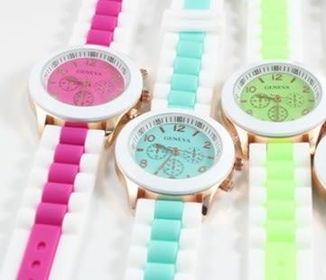 手錶 馬卡龍手錶 撞色果凍錶 韓版情侶錶 學生錶 運動錶【B9044】