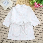 兒童睡袍浴袍0-1-2-3歲新生嬰幼兒童純棉長袖系帶中長款浴袍寶寶睡袍浴衣睡衣