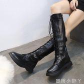 膝上靴長筒靴女秋冬新款百搭圓頭繫帶漆皮馬丁瘦瘦靴英倫風女靴 蘿莉小腳ㄚ