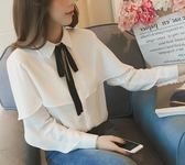 EASON SHOP(GU3967)長袖白襯衫蝙蝠袖荷葉邊女上衣服素色秋冬裝寬鬆韓版蝴蝶結綁帶子燈籠袖雪紡衫