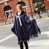 秋冬女連帶帽披肩加厚保暖流蘇英倫披風斗篷外套 新主流