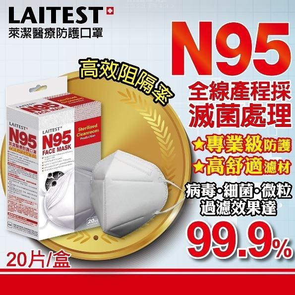 萊潔 LAITEST N95醫療防護口罩-白-20入盒裝