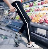 EASON SHOP(GU0564)夏裝新款運動褲哈倫女顯瘦小腳哈倫褲子女休閒褲寬鬆棉褲黑白撞色拼布 M-2XL
