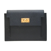 HERMES 愛馬仕Noir黑色拼深藍色 牛皮零錢包/卡包 Kelly Pocket Compact Y刻 BRAND OFF