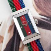GUCCI NEW G-FRAME 尼龍多色漾彩銀框腕錶/紅藍綠 YA147509 熱賣中!