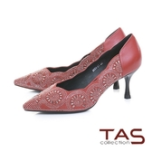 TAS水鑽波浪曲線麂皮拼接尖頭高跟鞋-熱情紅