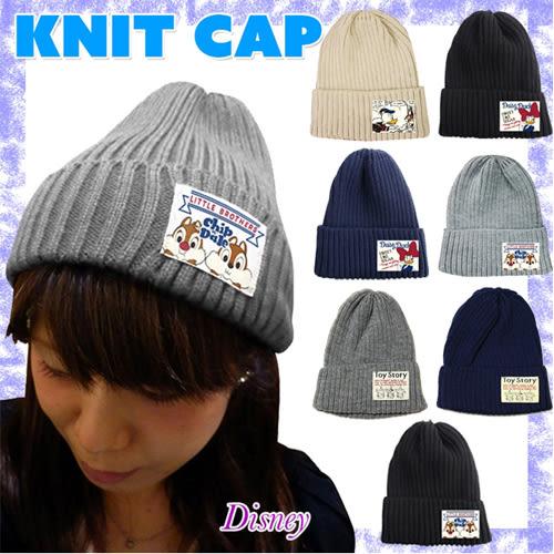 【日本進口正版】迪士尼 保暖針織毛帽 唐老鴨 黛西 三眼怪 奇奇蒂蒂 玩具總動員 Disney
