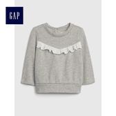 Gap女嬰兒 繡花鏤空荷葉邊長袖休閒上衣 497494-麻灰色