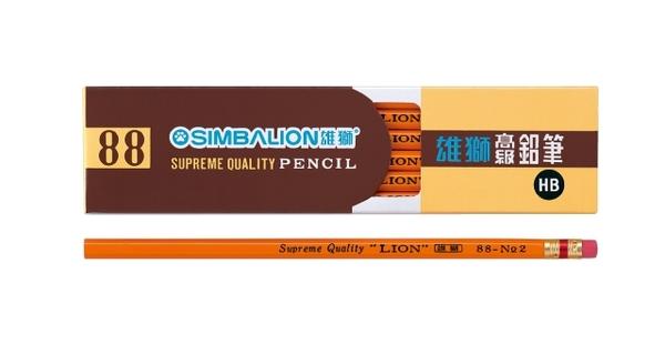 【金玉堂文具】SIMBALION 雄獅 88 NO2 皮頭六角鉛筆HB