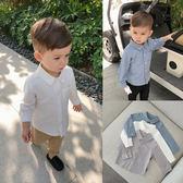 嬰童裝 男寶寶春裝麻棉長袖襯衣百搭