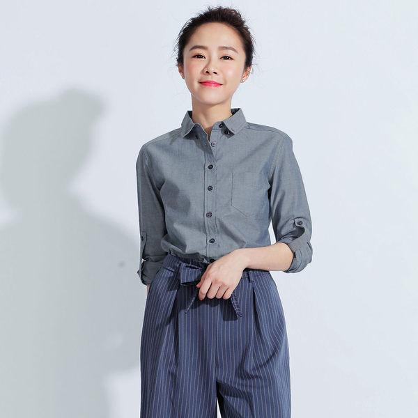 英式牛津長袖襯衫(女)-共5色