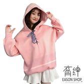 EASON SHOP(GW3222)實拍粉色系長版OVERSIZE緞帶交叉綁繩領長袖連帽T恤裙女上衣服寬鬆內搭衫素色棉T