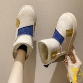 雪地靴女加厚加絨棉鞋平底防水防滑百搭一腳蹬短靴【雲木雜貨】
