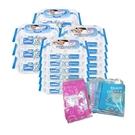 【奇買親子購物網】貝恩嬰兒保養柔濕巾80抽6入+20抽12入+Fibo拋棄式餐墊+奶粉袋/副食品袋(10入/包)