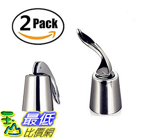 [106美國直購] Premium Stainless Steel Vacuum Wine Bottle Stopper sealer kit Sealed Leak-proof, Pack of 2