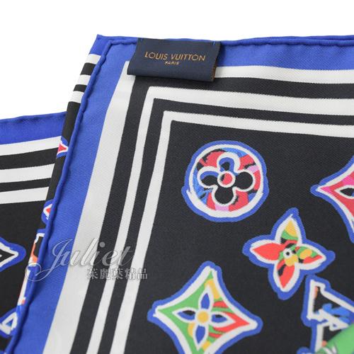 Louis Vuitton LV M76126 ABC MONOGRAM 經典花紋印花絲質大方巾.黑 全新 現貨【茱麗葉精品】