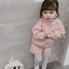 *╮小衣衫S13╭*秋冬女童粉粉防風連帽上衣搭假2件長褲套裝1080905