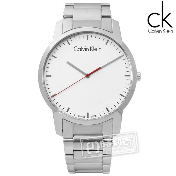 CK / K2G2G1Z6 / 時尚曼哈頓簡約風不鏽鋼手錶 銀白色 43mm