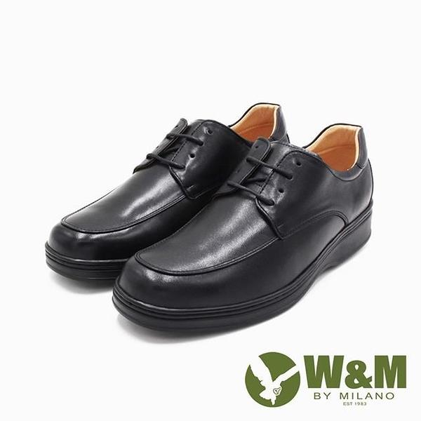 【南紡購物中心】W&M(男)氣墊感厚底增高綁帶皮鞋 男鞋-黑