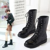 中筒靴子 秋冬中跟系帶厚底加絨馬丁靴《小師妹》sm480