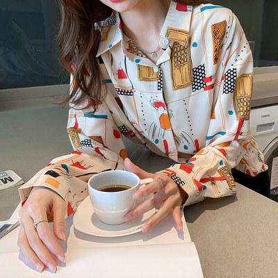 印花長袖襯衫 上衣襯衫女士襯衣設計感小眾洋氣時尚氣質長袖印花秋季 3639 N502 韓依紡