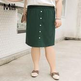 Miss38-(現貨)【A04588-1】大尺碼半身裙 仙人掌綠色 氣質短裙 鬆緊腰 及膝裙 直筒裙- 中大尺碼女裝