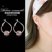 幸運彩球時尚耳圈女氣質簡約個性大圓圈耳環鑲鑽圓球耳釘