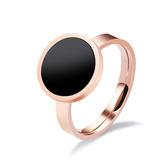 【5折超值價】 情人節禮物時尚精美極簡圓牌造型女款鈦鋼戒指