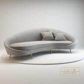 沙發 北歐現代簡約接待室不銹鋼腳三人布藝弧形沙發設計師異型軟包沙發-三山一舍