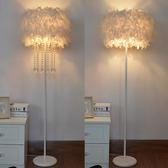 落地燈 水晶羽毛白色立式落地燈婚慶客廳書房臥室床頭臺燈美容主播補光燈-凡屋
