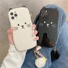 韓國可愛立體貓咪耳朵毛球適用iPhone12Pro max蘋果11手機殼13新款x/xs女8plus潮7p硅膠xr全包鏡頭保護套i