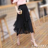魚尾裙不規則雪紡蛋糕裙中長半身裙新款 春夏復古印花a字裙