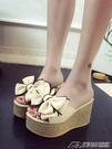 拖鞋女新款韓版時尚外穿超高跟涼拖鬆糕底蝴蝶結厚底涼鞋  潮流前線