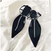 【雙11折300】涼鞋女珍珠一字扣帶名媛尖頭正韓平跟包頭