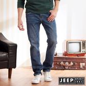 【JEEP】經典刷色直筒牛仔褲 (藍色)