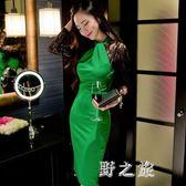 中大尺碼長袖夜店洋裝 秋女裝中長款包臀連身裙掛脖蕾絲禮服 nm9049【野之旅】