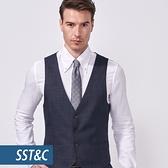 SST&C 男裝 鐵灰色紋理修身西裝背心   0512010009