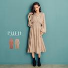 限量現貨★PUFII-洋裝 小V領縮腰長...