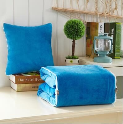 冬季加厚抱枕被子兩用汽車珊瑚絨辦公室靠墊沙發午睡枕頭被小靠枕(大號150*195cm雙面絨)